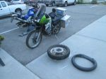 Another flat tire on our motorcycle trip